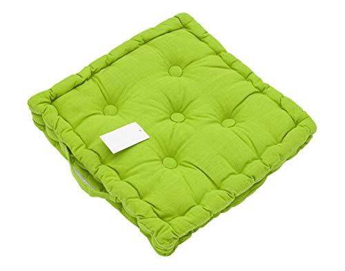 LEYENDAS Cojin para Silla de 40 x 40 x 8 cm para Interior y Exterior de 100% algodón cojín Acolchado/cojín para el Suelo (Verde, 1)