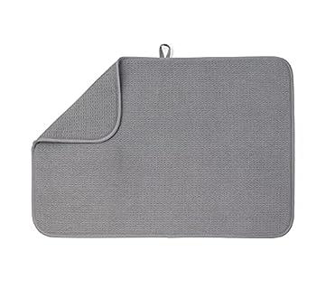 XXL Dish Mat 24  x 17   Largest MAT  Microfiber Dish Drying Mat Super Absorbent by Bellemain  Gray