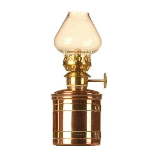 Elbe Petroleumlampe 1 Öllampe aus Kupfer mit Messingbändern, poliert, unlackiert, transparentes Glas in Tulpenform, Füllmenge ca. 140 ml, Höhe 170 mm