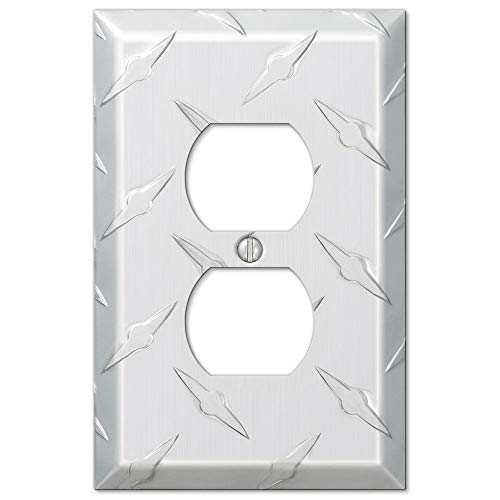 Colester Direct Diamond Plate Aluminum Wall Switch Plate Outlet Cover Toggle Rocker GFI Garage (Power Outlet-Duplex Single)
