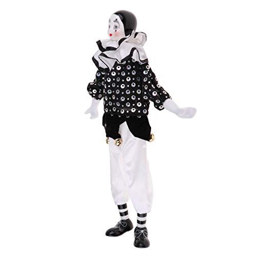 Miaoyu - Bambola horror da 38,1 cm, in porcellana a goccia con abiti bianchi e neri, divertente bambola arlecchino, oggetti di scena per Halloween