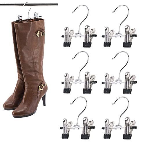 SUNTRADE Double Adjustable Clips Boots Hangers,Space Saving Boots Socks Bags Hanging Clips Boot Holder Boot Organizer,Set of 6