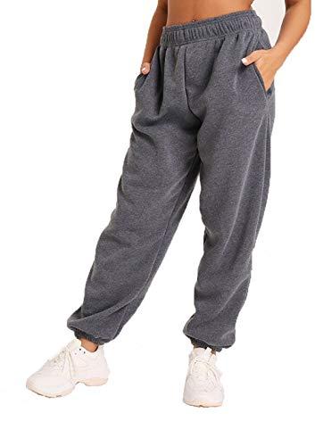 Damen-Jogginghose, leger, Übergröße, 90er-Jahre, elastische Bündchen, Fleece, Jogginghose, Trainingshose, Größe 34-44 Gr. 38, anthrazit