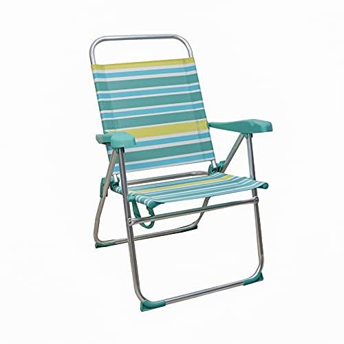 ARCOIRIS Sillas de Playa 5 Posiciones textileno, Silla de Playa Portátil, Plegable, Aluminio, Reclinable