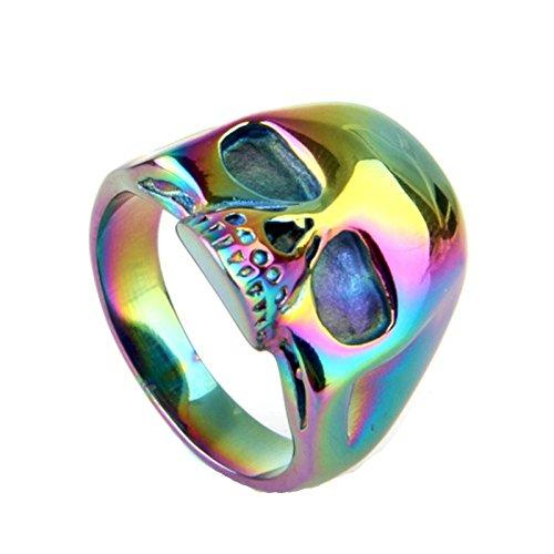 Blisfille Ringe Silber Boho Ring Männer Verlobung Silber Mehrfarbig Bunt Bar Punk Einfach Schädel Toten Kopf Ringgröße 67 (21.3) Gothic Retro Vintage Neue Jahr Ring Für Liebhaber