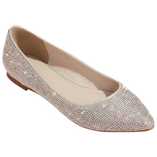 David's Bridal Allover Crystal Metallic Almond-Toe Flats Style Madelyn, Silver, 9
