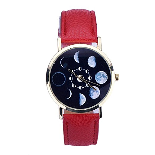 Xinantime Relojes Pulsera Mujer,Xinan Cuero Lunar Analógico Reloj de Cuarzo (Rojo)
