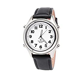 Collections Etc Easy to Read Talking Atomic Watch Black