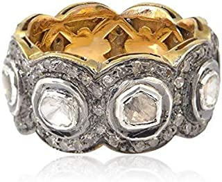Victorian Style Designer Eternity Wedding Band Rose Cut Diamond Uncut Diamond Polki Sterling Silver Filigree Royal Ring Promise Ring