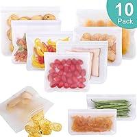 LIVEHITOP Sándwich Frutas Comida Bolsas de Almacenamiento Reutilizables Refrigerador a Prueba de Fugas de Almacenaje Almuerzo Viaje Sopa de Verduras Leche Carne sin bpa Paquete de 10