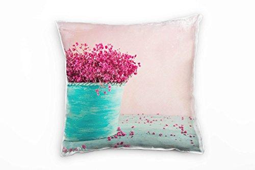 Paul Sinus Art Vintage, bloemen, turquoise, roze, bloempot decoratief kussen 40 x 40 cm voor bank sofa lounge sierkussen - decoratie om je goed te voelen