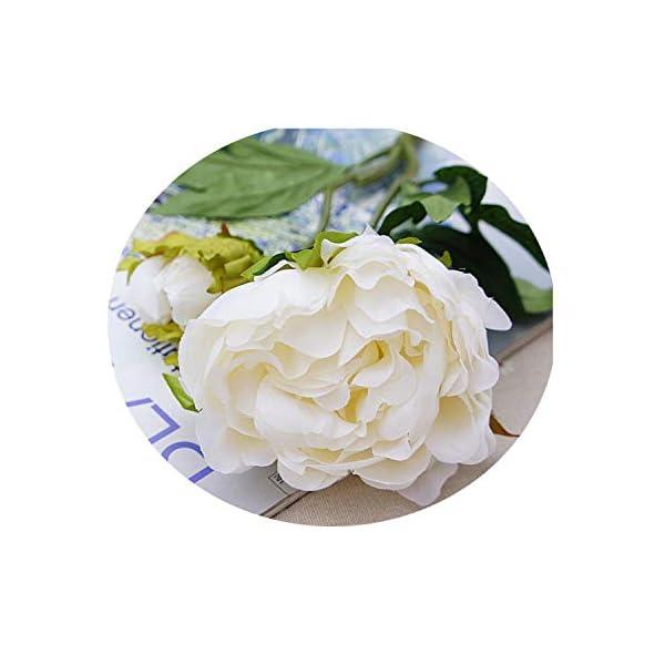 Artificial Flowers Peony 3 Heads Silk Flowers Home Decoration Wedding Flowers White-2 Head