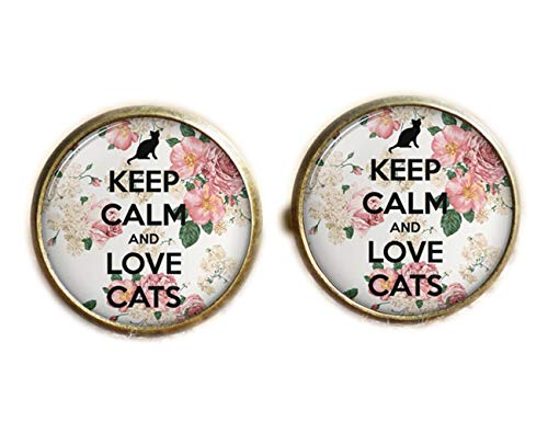 Keep Calm And Love Cats Boutons de manchette, cadeau de chats, chats Boutons de manchette
