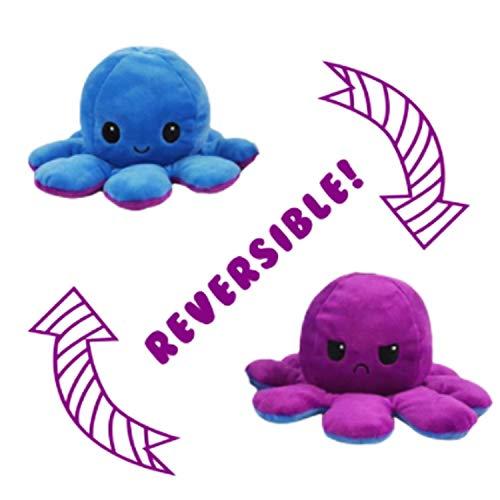 RecontraMago Pulpo Reversible Peluche Grande - Super Suave - Pulpos Distintos Colores - Juguetes muñecos - Cara Feliz niños tiktok (Azul-Purpura)