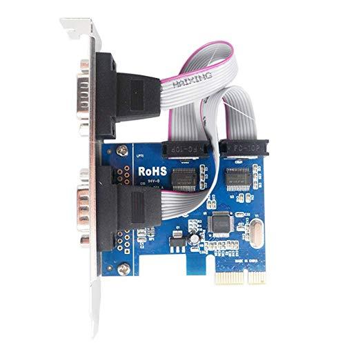 CERECO 1 x PCI Express auf Dual Serial DB9 RS232 Controller-Adapterkarte mit 2 Ports, mit Laufwerk-CD, 1 x PCI-E, 2 x serielle Schnittstelle (1 Stück, blau).
