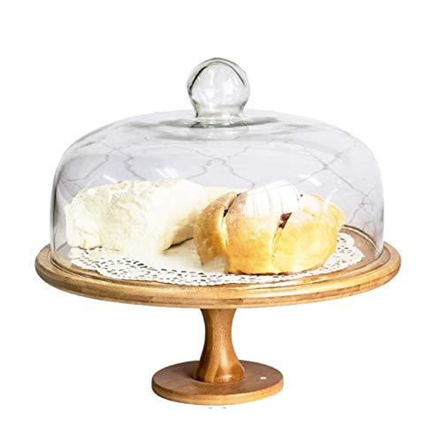 TXOZ Soporte de la torta de madera giratoria, soporte de pastel reutilizable con la cúpula de la torta de cristal, bandeja multifuncional de la porción, bandeja de pasteles, ensalada, plato, tazón de