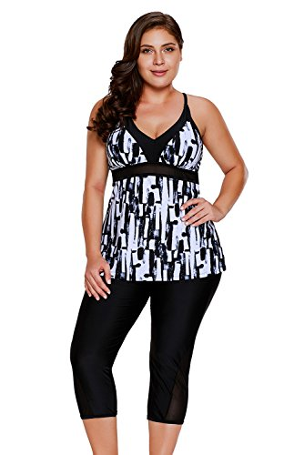 Gloria&Sarah Women's Retro Abstract Print Two Piece Plus Size Tankini Capris Short Swimsuit,Black,X-Large