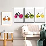 KELEQI Food Canvas Painting Lustige Frucht Fahrrad Kunst