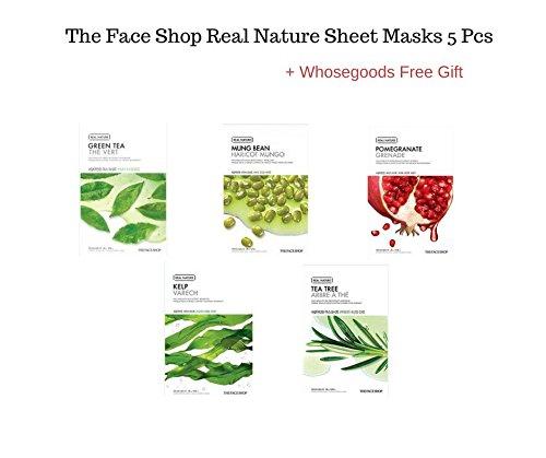 The Face Shop Real Nature sheet masks 5 pieces + FREE GIFT (Kelp, Mung Bean,Tea tree,Pomegranate, GreenTea)