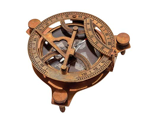 Impactautical Sonnenuhr-Kompass im Antik-Look, aus massivem Messing, Sonnenuhr im West-London-Design