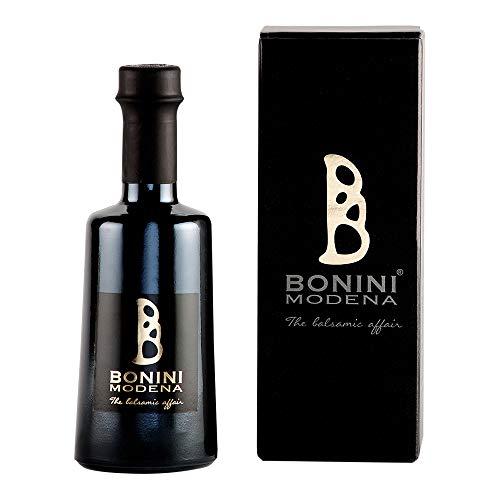 BONINI Productor de vinagre balsámico tradicional de Módena DOP, aderezo Stravecchio 250 ml echo a mano con mosto de uva cocido, envejecido en barriles de 25 años, Made in Italy