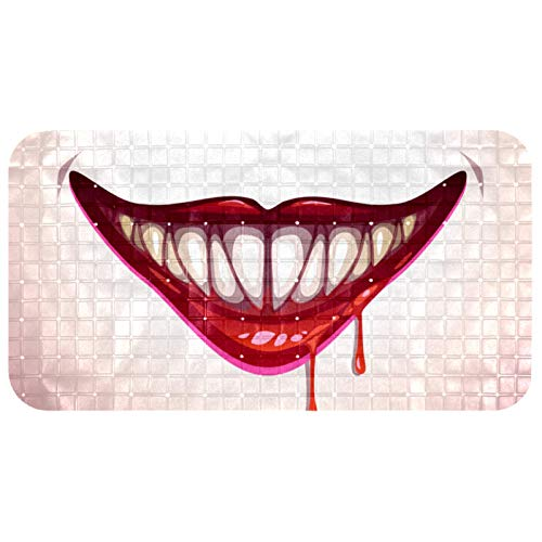 LEVEIS Non Slip Bathtub Mat Bloody Vampire Mouth Prints PVC Shower Mats with Powerful Suction Cup Gripping for Bathroom…