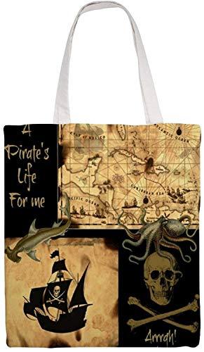 MODORSAN Barco pirata Sea Ocean Bolso de hombro Bolso de mano de lona, Bolsos de tela reutilizables para compras de comestibles, Bolsos de mano con impresión de doble cara