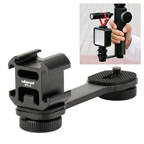 Ulanzi PT-3 三つシューブラケット アルミ製 ユニバーサルブラケット 1/4'' フラッシュブラケット 三台同時設置可能 荷重3kg カメラマクモニターに DJI OSMO Mobile 2 Zhiyun Smooth 4/Feiyu Vimble 2などのジンバルスタビライザーに対応