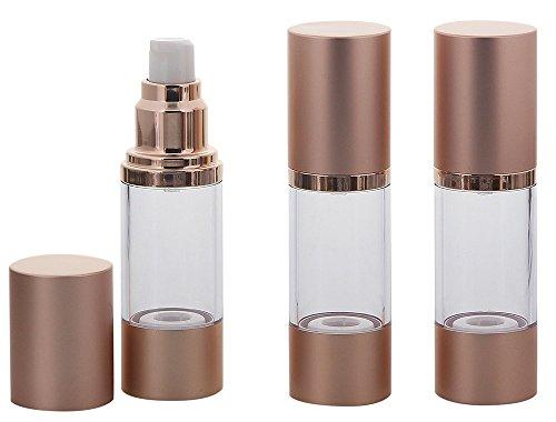 Eleganter Kosmetex Airless Alu Pumpspender Rose-Gold, Rotgold, Cremespender, Lotion und Gelspender zum selbst Befüllen, 3x 30ml Rose