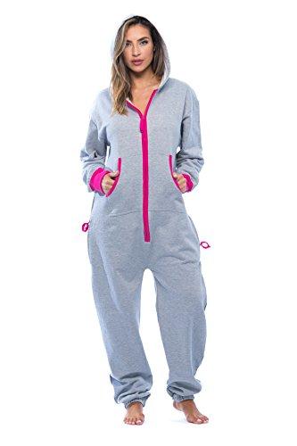#followme 6438-GRY-S Adult Onesie Pajamas Jumpsuit