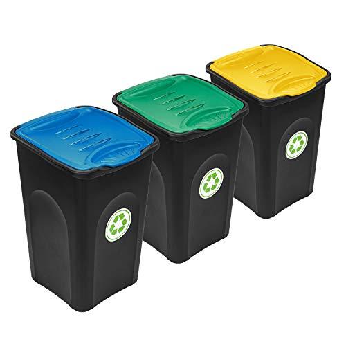 PAFEN Mülleimer 50l mit Klappdeckel - 3er Set Abfalleimer - Abfalltrennsystem Recycling Abfalltonne Treteimer Mülltrenner
