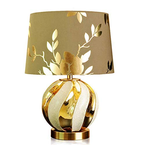 European-Style Table Lamp Bedroom Bedside Light Gold Ceramic Desk Lamp Warm and Luxurious Living Room Study Table Lighting (Size : 40 * 58cm)