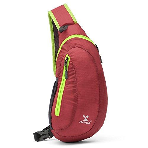 Sac de Poitrine polyester voyage équitation étanche résistant à l'usure grande capacité mâle lady poitrine sac Messenger sac Sling bag , red