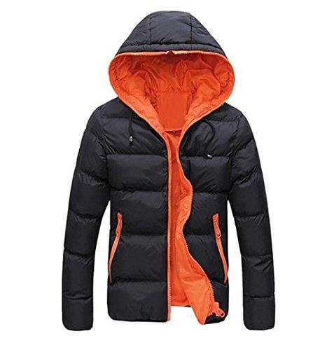 Männer Winter Ultraleicht Daunenmantel | ZEZKT-Herren SlimFit WarmeCardigan Mantel Winter Warm Lässige Outerwear Coat (L, Orangenfarbig)