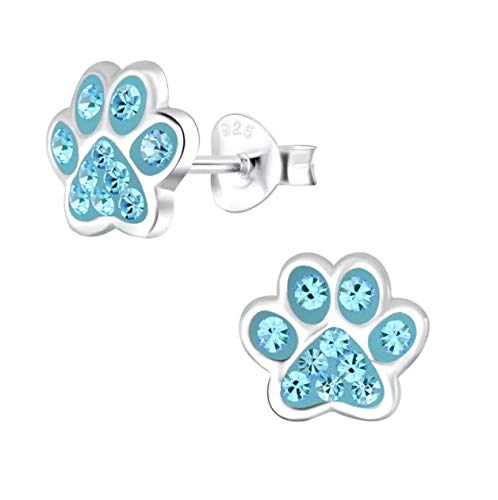 Blue Paw Print Earrings - Sterling Silver with Crystal Stones Gift