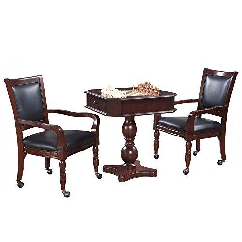 Hathaway Fortress Chess, Checkers & Backgammon Pedestal Game Table & Chairs Set - Mahogany
