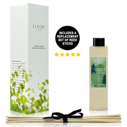 LOVSPA Sparkling Balsam Reed Diffuser Oil Refill with Reed Sticks - Christmas Tree Scent with Pine, Fir Needles, Birch Wood and Amber - Made with Natural Essential Oils - 4 Ounces