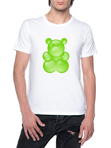 Verde Pegajoso Oso Camiseta Hombre Blanca con Cuello Redondo Mens T-Shirt White