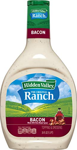 Hidden Valley Bacon Ranch Salad Dressing & Topping, Gluten Free - 24 Ounce Bottle (Package May Vary)