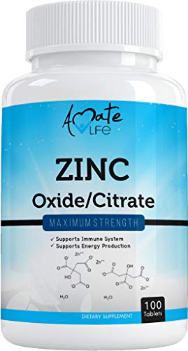 Zinc Supplement 50 mg - Oxide/Citrate for Immune Support and Metabolism Support - Vegan Zinc 50mg Supports Heart and Eye Health - 100 Tables for Men and Women by Amate Life