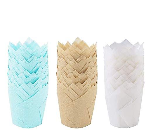 Onebycitess 150PCS Tulip Cupcake Liners,Natural Baking Cups Muffin Cupcake Grease-Proof Wrappers for Wedding, Birthday Party,Christmas(Blue,Natural,White)