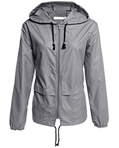 AnyuA Jacke Regenanzug Wasserdicht Damen Oberbekleidung Wasserfeste Regenbekleidung Grau 2XL