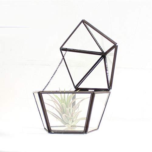 MINGZE Geometrisches Glas Terrarium Box, Artistic Transparent Air Reißfestigkeit Diamant, Schmuckschatulle Pflanzgef Deko Tischplatte Sukkulente Moos Blumentopf (12.5 * 11 * 12.5CM, Schwarz Kupfer)
