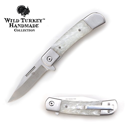 Wild Turkey Handmade Pearl Handle Action Assist Folding Pocket Knife Hunting Camping Fishing Outdoors White