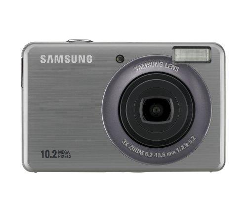 Samsung PL50 Digitalkamera (10 Megapixel, 3-Fach Opt. Zoom, 6,9 cm (2,7 Zoll) Display, Bildstabilisator) Silber