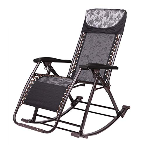 DAGCOT Garden Zero Gravity Chair Portable Reclining Lawn Chairs Outdoor Freestyle Rocker Portable Folding Rocking Chair for Heavy People, Recliner for Patio Porch Garden Deck Lawn Camping, Support 200