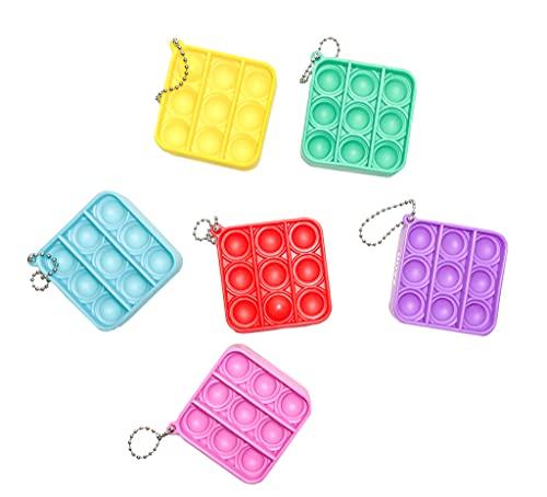 HOYZ Fidget Spielzeug, 6 Stück, einfaches Spielzeug – Angst Stress Relief Hand Spielzeug – Mini Schlüsselanhänger Spielzeug – Büro Schreibtisch Spielzeug für Kinder, Erwachsene