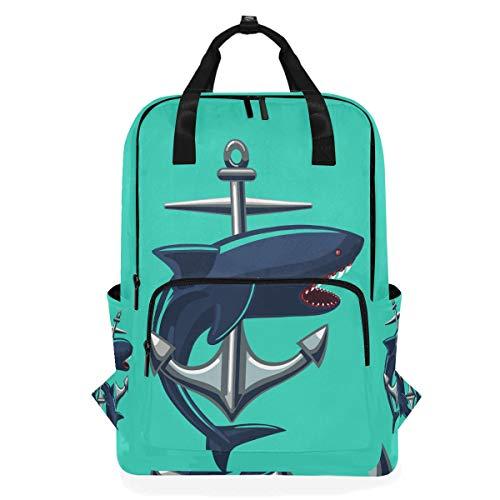 ALARGE Mochila para portátil, Ocean Sea Anchor Shark Business School College Canvas Book Bag Travel Senderismo Camping Mochila para Estudiantes Adolescentes