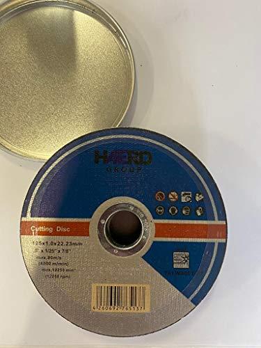 10 discos de corte profesionales en caja de aluminio, diámetro de 125 mm, 1 mm de grosor, para amoladora de corte y ángulo flexible, incluye caja