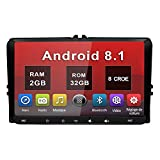 Android 8.1 Autoradio 2 DIN GPS Ecran Tactile numérique 9 Pouces Navigation de Voiture RAM:2G ROM:32GB supporte Bluetooth WiFi 4G USB SD Car Play Commande au Volant Radio RDS OBD2 DSP